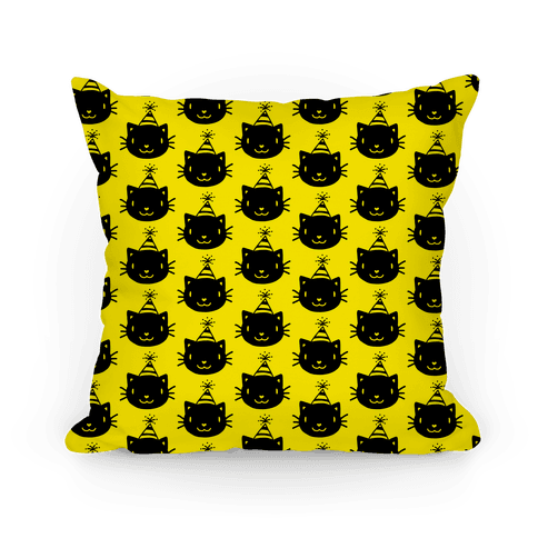 Cat Party Pattern Pillow (Black on Yellow)