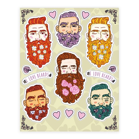 Boys With Beards Sheet Sticker and Decal Sheet
