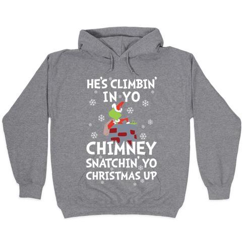 Merry Christmas Rock Climber Mens Funny Hooded Sweatshirt Hoodie