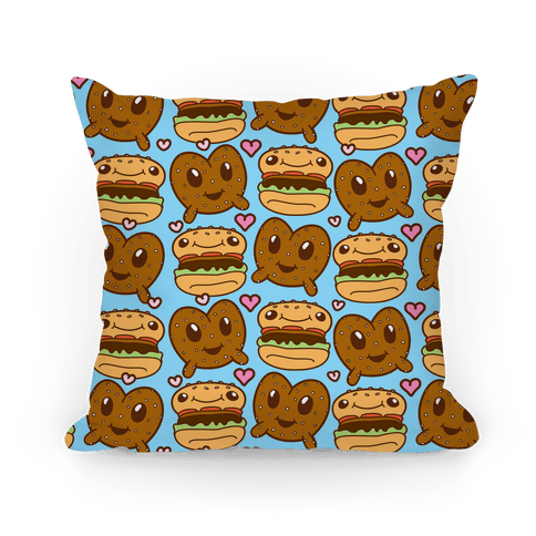 Pretzel Burger Love Pillow
