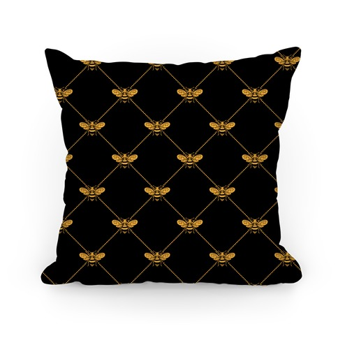 Regal Golden Honeybee Pattern Pillow