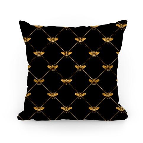 Regal Golden Honeybee Pattern Pillow