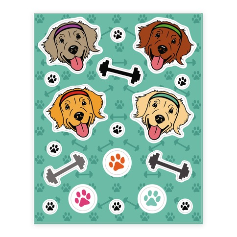 Workout Dog Sticker and Decal Sheet