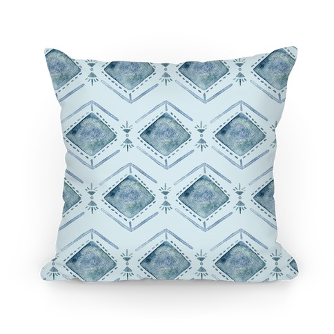 Blue Watercolor Tribal Pattern Pillow