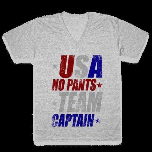 USA No Pants Team Captain V-Neck Tee Shirt