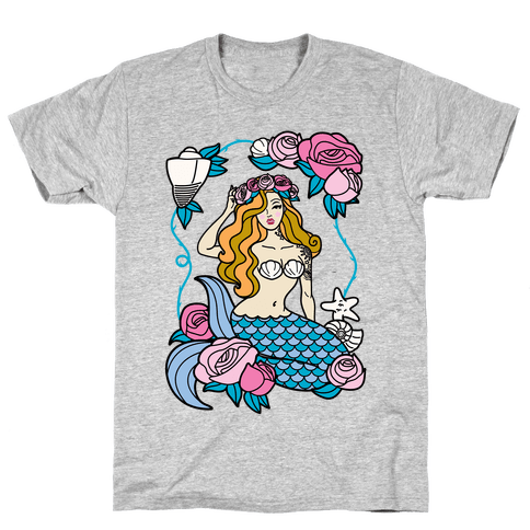 Nautical Tattoo Mermaid Mens T-Shirt