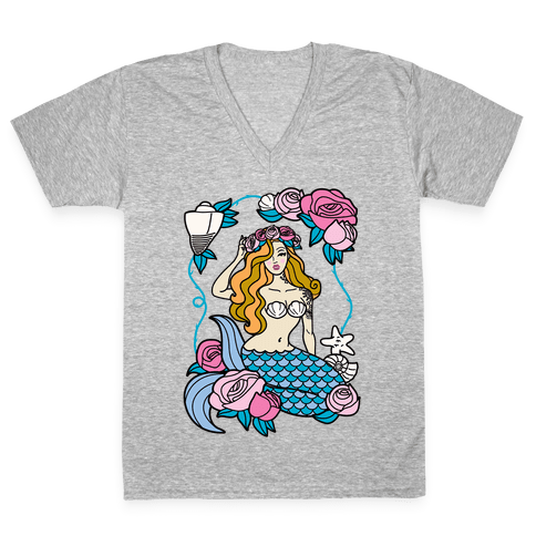 Nautical Tattoo Mermaid V-Neck Tee Shirt