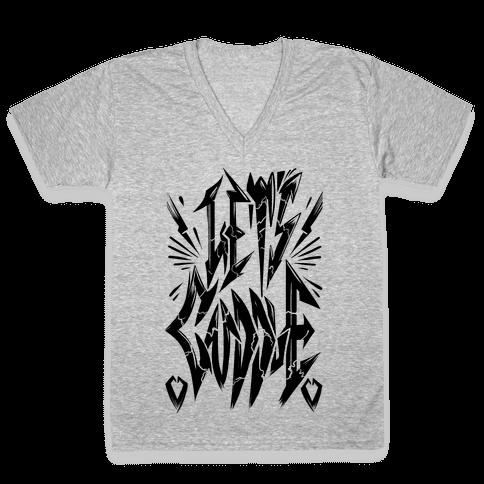Let's Cuddle (Metal) V-Neck Tee Shirt