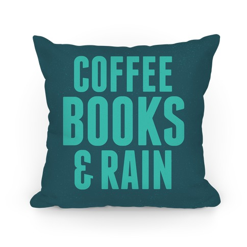 Coffee Books & Rain Pillow (Blue) Pillow