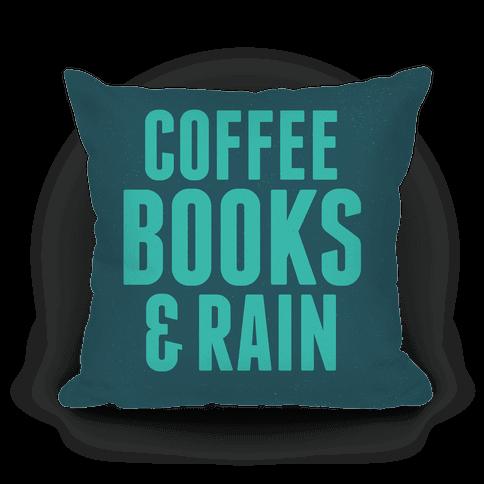Coffee Books & Rain Pillow (Blue)