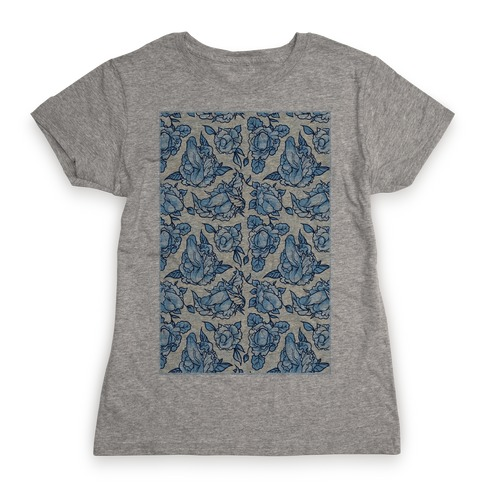 Floral Penis Pattern Womens T-Shirt