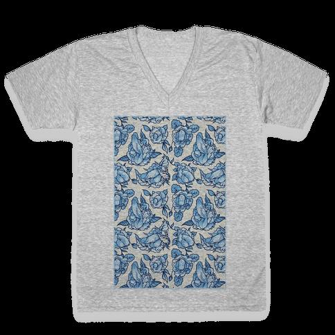 Floral Penis Pattern V-Neck Tee Shirt