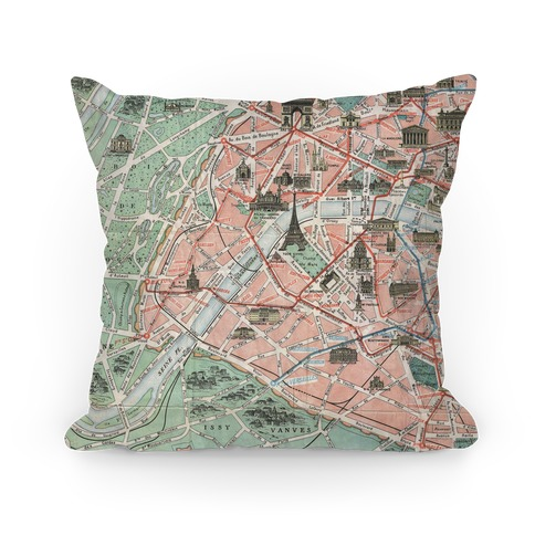 Vintage Paris Map Pillow