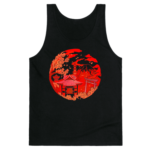 Japan's Mount Fuji and Shinto Shrines Inside the Rising Sun Tank Top