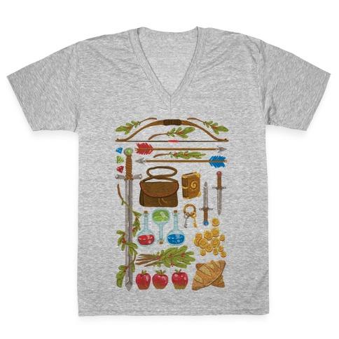 Fantasy RPG Adventurer Kit V-Neck Tee Shirt