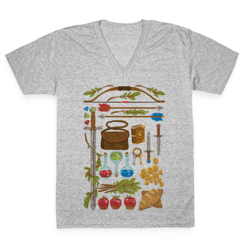 Fantasy RPG Adventurer Kit V-Neck Tee Shirt