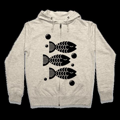 Geometric Fish Zip Hoodie