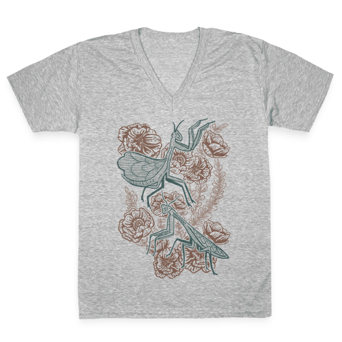 Praying Mantis V-Neck Tee Shirt
