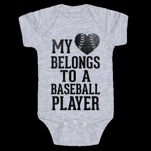 My Heart Belongs To A Baseball Player (Baseball Tee) Baby Onesy
