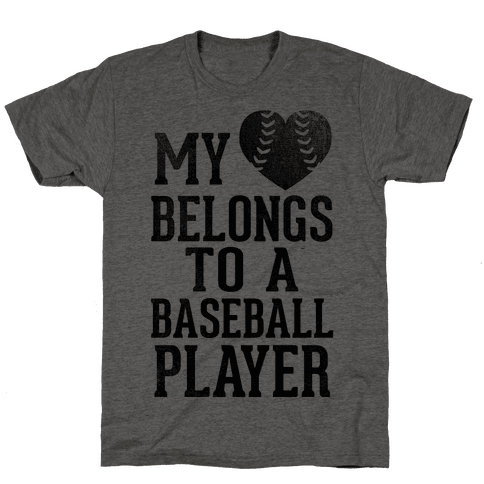 My Heart Belongs To A Baseball Player (Baseball Tee) Mens T-Shirt