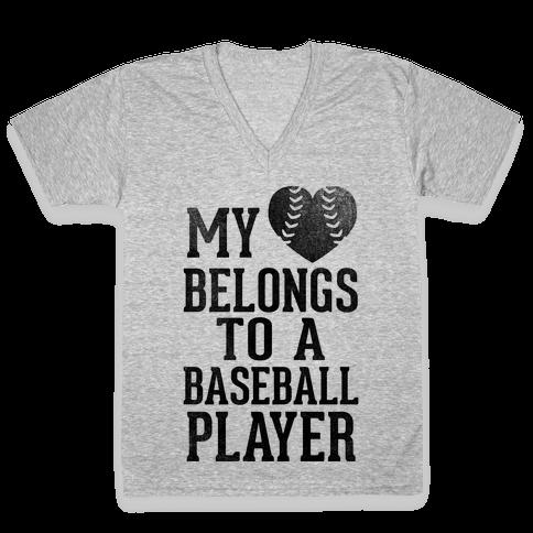 My Heart Belongs To A Baseball Player (Baseball Tee) V-Neck Tee Shirt