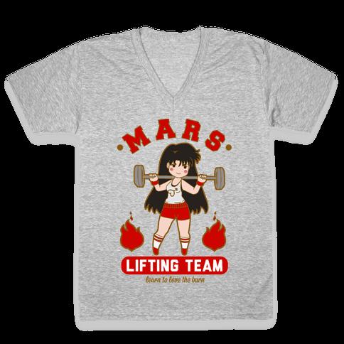 Mars Lifting Team Parody V-Neck Tee Shirt