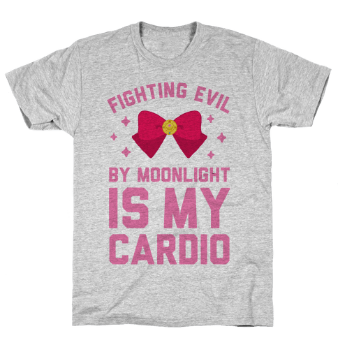 My Cardio is Fighting Evil by Moonlight Mens T-Shirt