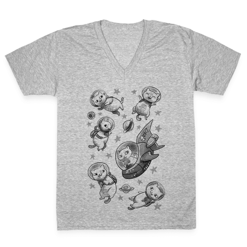 Cats In Space V-Neck Tee Shirt