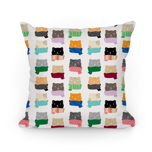 Cats In Scarfs Pattern Pillow