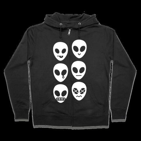 Alien Emojis Zip Hoodie