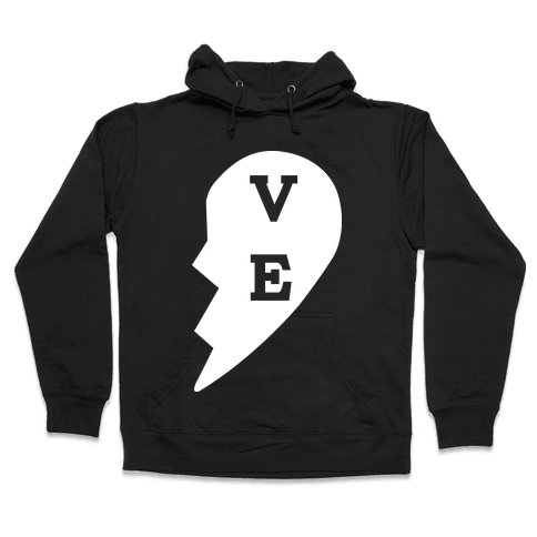 """VE"" Love Couples Tank  Hooded Sweatshirt"
