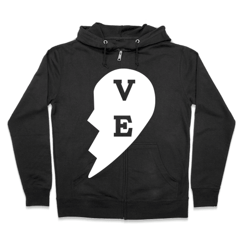 """VE"" Love Couples Tank  Zip Hoodie"