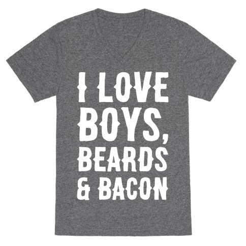 Boys, Beards and Bacon V-Neck Tee Shirt