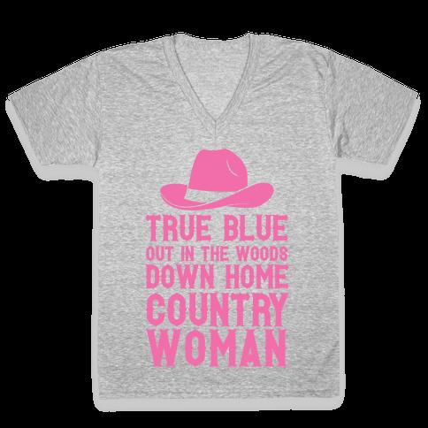 True Blue Country Woman V-Neck Tee Shirt