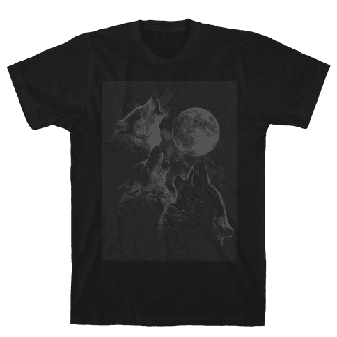 Three Wolf Ascii Mens T-Shirt