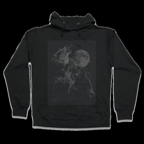 Three Wolf Ascii Hooded Sweatshirt