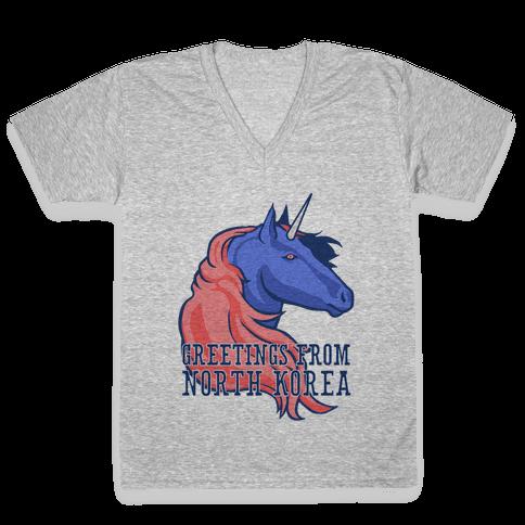 North Korean Unicorn V-Neck Tee Shirt