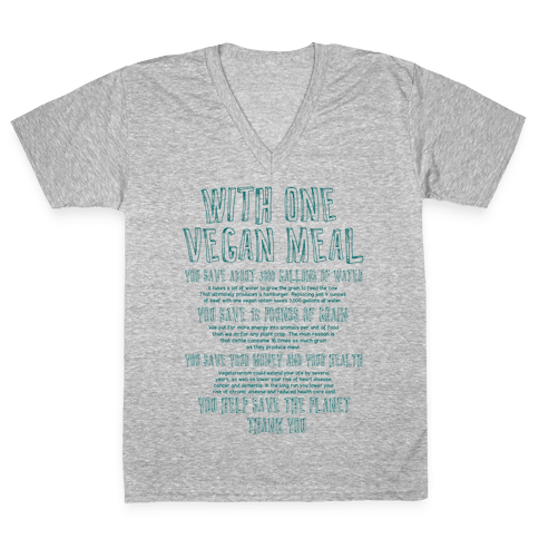 With One Vegan Meal V-Neck Tee Shirt