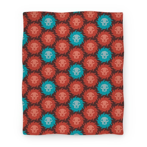 Lion Pattern ( Red & Blue ) Blanket