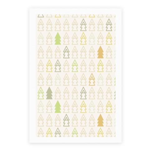 Autumn Evergreen Trees Poster