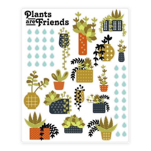 Plants Are Friends Retro Sticker and Decal Sheet