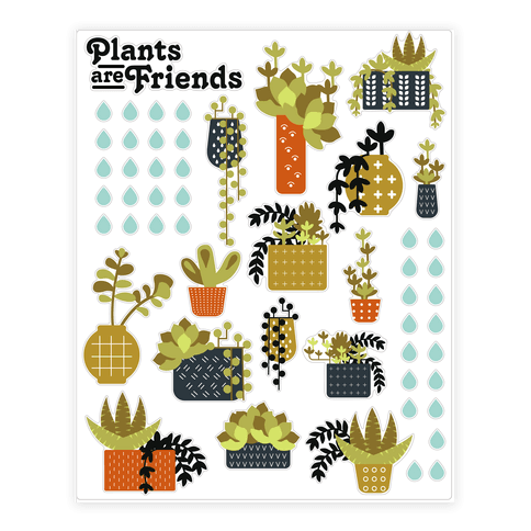 Plants Are Friends Retro Sticker/Decal Sheet