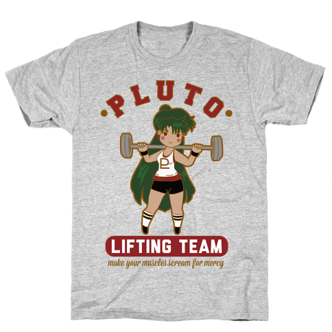 Pluto Lifting Team Parody Mens T-Shirt