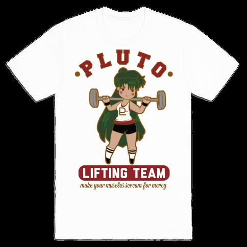 Pluto Lifting Team Parody Mens T-Shirt