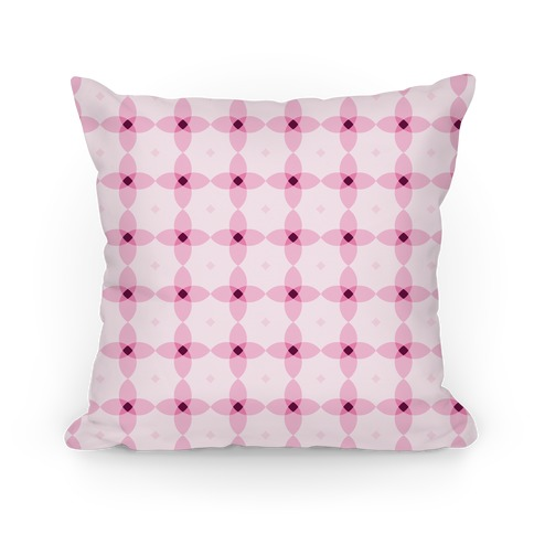 Pink Geometric Flower Pattern Pillow