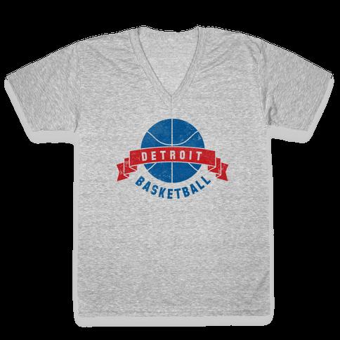 Detroit Basketball V-Neck Tee Shirt