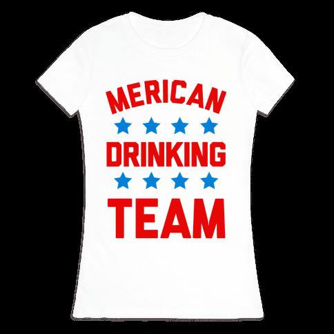 Merican Drinking Team Womens T-Shirt