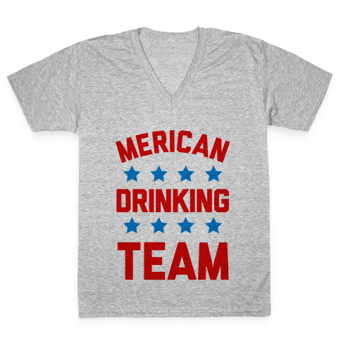 Merican Drinking Team V-Neck Tee Shirt
