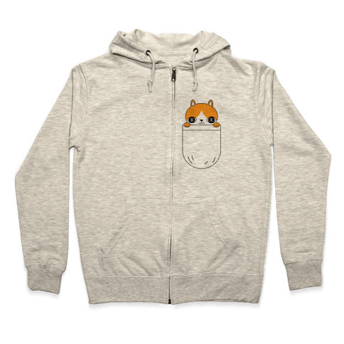 Pocket Cat Zip Hoodie