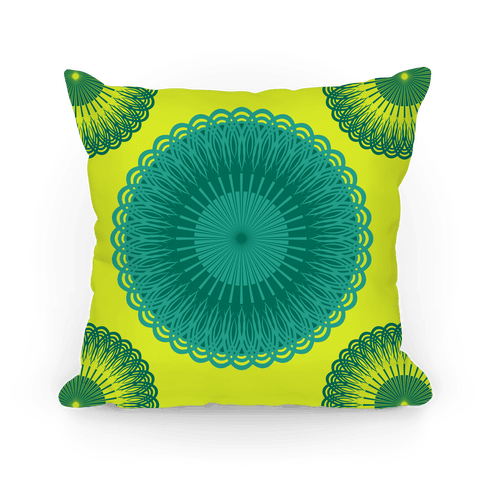 Green and Yellow Flower Mandala Pillow